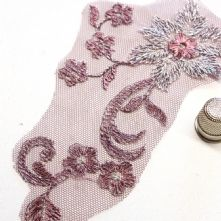 Small Plum and Silver Embroidered Tulle Lace Motif